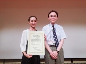 2018年下田光造賞授賞式 (写真左)大原、(写真右)名古屋大学 尾崎紀夫 先生